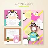 Карточки характеров симпатичного шаржа животные бесплатная иллюстрация