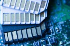 Карточки SD с предпосылкой mainboard технической Стоковые Изображения