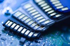 Карточки SD с предпосылкой mainboard технической Стоковое Фото