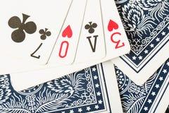 Карточная игра покера аранжирует текст влюбленности Стоковые Изображения