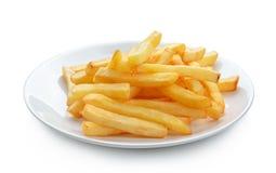 Картошки жарят в плите изолированной на белой предпосылке Стоковая Фотография