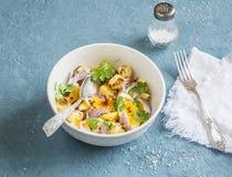 Картошки и салат вареного яйца с шлихтой оливкового масла и мустарда Сухой завтрак в ложке Стоковое фото RF