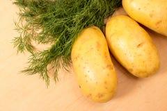 Картошки и укроп на доске кухни Стоковое Изображение RF