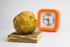 Картошки на белой предпосылке возвращают часы Стоковое Изображение