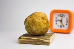 Картошки на белой предпосылке возвращают часы Стоковые Изображения