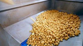 Картошки очищенные и отрезок падают в кучу акции видеоматериалы