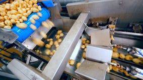 Картошки падают в металл транспортируя машину акции видеоматериалы