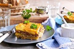 Картошки Graten и семенить мясо Стоковая Фотография