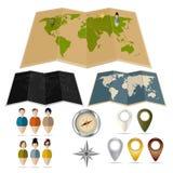 Карты, бирки, компасы и бирки с людьми Иллюстрация штока