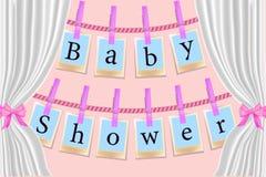 Карты зажимок для белья на розовой предпосылке Карта BabyShower приглашения для девушки с рамками фото o иллюстрация штока
