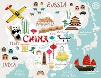 Карты Китая иллюстрация вектора
