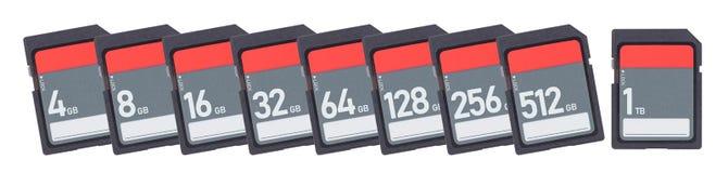 Карты памяти изолированные на белой предпосылке - выстройте в ряд от 4gb к 1t Стоковое Изображение RF
