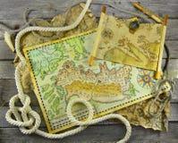 Карты пирата в рамке веревочки Стоковое Изображение