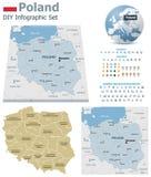 Карты Польши с отметками Стоковые Фото