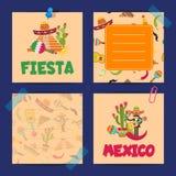 Карты примечания вектора плоские мексиканськие набора иллюстрация вектора