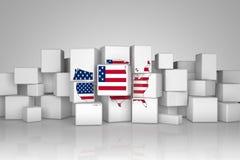 Карты США с флагом на кубиках Стоковое Изображение