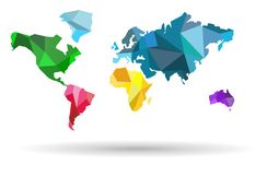 Карт-страны мира красочные на белой предпосылке Стоковое фото RF
