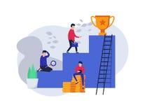 карьера Концепция для интернет-страницы успех лестниц к Победитель чашки Сыгранность к успеху связывает белокурое дело ее команда Стоковые Изображения