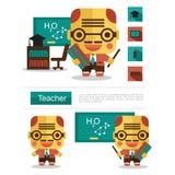 Карьера учителя дизайна характера, вектор значка с белой предпосылкой иллюстрация штока