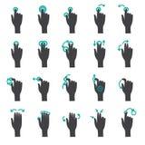 Касание руки показывать плоский комплект значка Стоковое Изображение