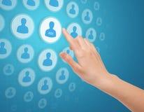 касание средств иконы руки социальное Стоковое фото RF