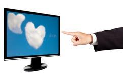 касание экрана монитора компьютера Стоковая Фотография