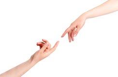 касатьться рук Стоковое фото RF