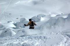 каскадируйте вниз кататься на лыжах гигантов Стоковые Изображения RF