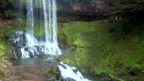 Каскад водопада против банка зеленой травы склоняя сток-видео