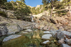 Каскадируйте водопад des Anglais около Vizzavona в Корсике Стоковая Фотография RF