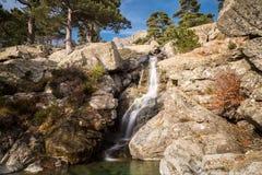 Каскадируйте водопад des Anglais около Vizzavona в Корсике Стоковое Изображение RF