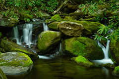 Каскадируя поток в больших закоптелых горах Стоковое Изображение RF