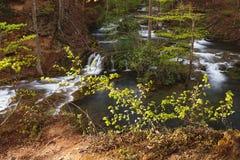 Каскадируя река и водопад в лесе весеннего времени Стоковое Фото