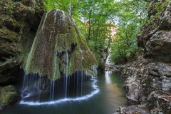 Каскад Bigar падает в ущелья национальный парк Nera Beusnita, Румынию Стоковые Изображения RF