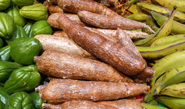 Кассава Maniok на таблице рынка Стоковое Изображение RF
