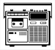 кассетный магнитофон на белизне Стоковая Фотография RF