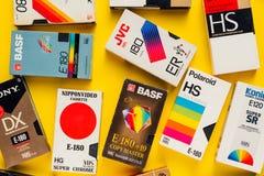Кассеты VHS видео-, ретро видео- технология стоковое фото rf