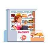 Кассир на магазине печенья на кассе хлебопекарни иллюстрация вектора