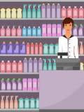 Кассир на супермаркете, продавец, кассовый аппарат, полки с химикатами домочадца в магазине Иллюстрация вектора, плоская Стоковые Изображения