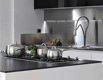 кастрюльки кухни детали стальные Стоковая Фотография
