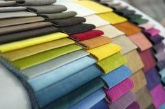 Каталог пестротканой ткани от предпосылки текстуры ткани рогожки, текстуры silk ткани, предпосылки текстильной промышленности Стоковое Изображение RF