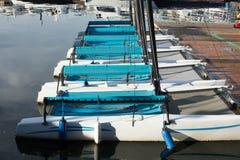 Катамараны на доке на соединении озера ` s Сиэтл стоковые фотографии rf