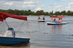 Катамараны на реке стоковые фотографии rf