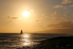 Катамаран в водах Гаваи Стоковые Фото