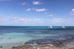 Катамаран в заливе Stintino стоковые фотографии rf