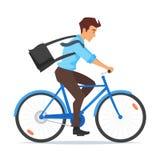 Катание бизнесмена на велосипеде иллюстрация штока