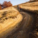 Катание велосипедиста в горах осени Стоковые Изображения RF