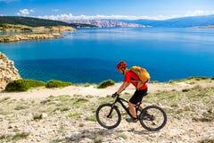 Катание велосипедиста горы на велосипеде в взморье лета Стоковая Фотография
