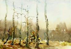 Катание девушки в акварели березовых древесин Стоковые Фотографии RF