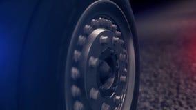 Катание колеса автомобиля конца-вверх на асфальте Абстрактные маневры колеса автомобиля пока управляющ на проблескивать полиции д акции видеоматериалы